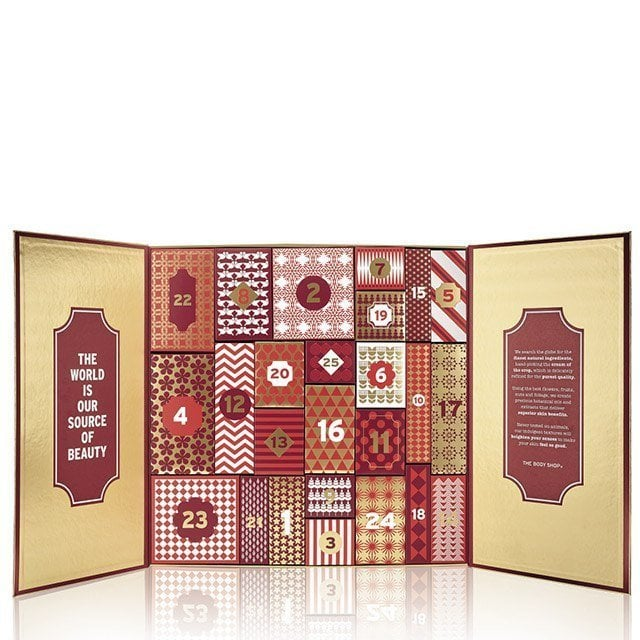 The Body Shop (£99) This year The Body Shop has released three different Advent calendars: Happy Days (£60), Delux (£80), and Ultimate (£99). Each is filled with 24 doors of surprises featuring Oils of Life, Himalayan Charcoal Purifying Glow Mask, and Fuji Green Tea Body Wash.
