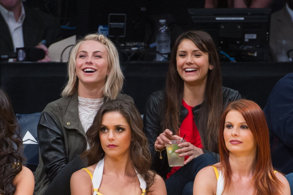 Julianne Hough and Nina Dobrev laughed during the match.