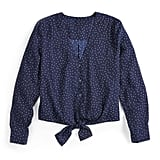 Long Sleeve Tie Front Top in Highlighted Dots