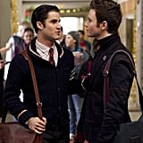Blaine and Kurt share a moment during their first Christmas as an item.  Photo courtesy of Fox