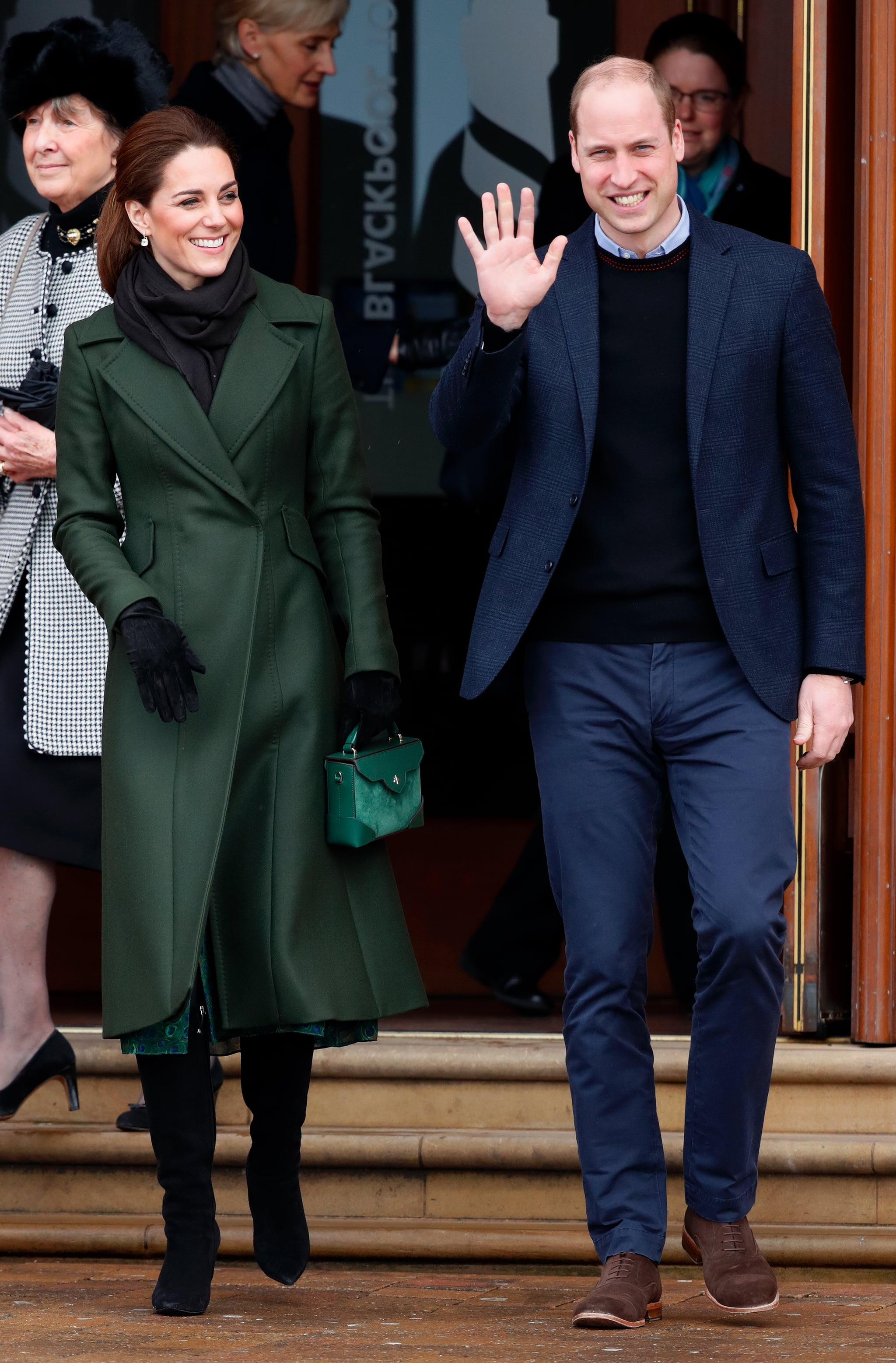 BLACKPOOL, UNITED KINGDOM - MARCH 06: (EMBARGOED FOR PUBLICATION IN UK NEWSPAPERS UNTIL 24 HOURS AFTER CREATE DATE AND TIME) Catherine, Duchess of Cambridge and Prince William, Duke of Cambridge visit Blackpool Tower and greet members of the public on the Comedy Carpet on March 6, 2019 in Blackpool, England. (Photo by Max Mumby/Indigo/Getty Images)