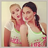 Elsa Hosk and Lily Aldridge puckered up during a SoulCycle event in NYC. Source: Instagram user lilyaldridge