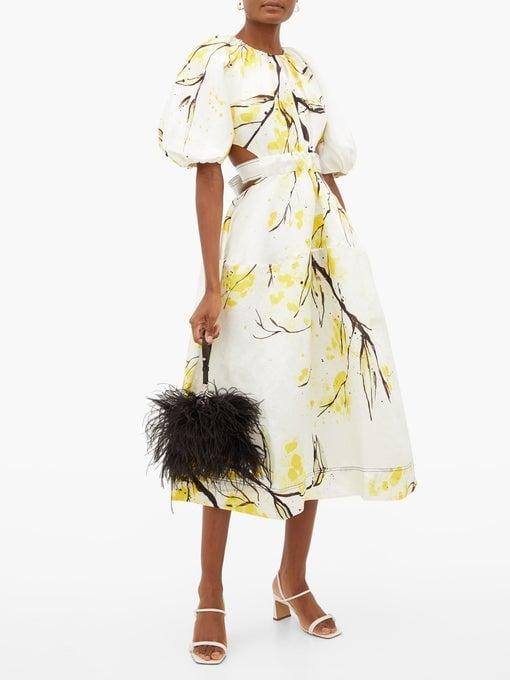 Aje Mimosa Floral-Print Linen-Blend Satin Dress