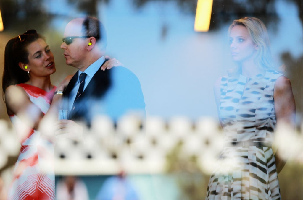 Charlene watched on as Charlotte shared a sweet moment with her uncle Prince Albert at the Formula One Grand Prix in May 2011.