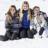 Princesses Alexia, Catharine-Amalia, and Ariane at their Winter photocall in Austria.