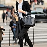 A preppy-sweet style, made more adorable with a ruffled blouse and brogues.
