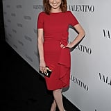 Ellie Kemper dazzled in a red dress at a celebration for Valentino's 50th anniversary in LA.