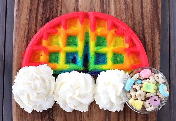 Rainbow Tie-Dye Waffles
