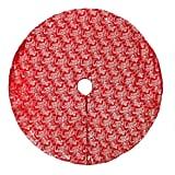 Red Velvet Foil Print Christmas Tree Skirt
