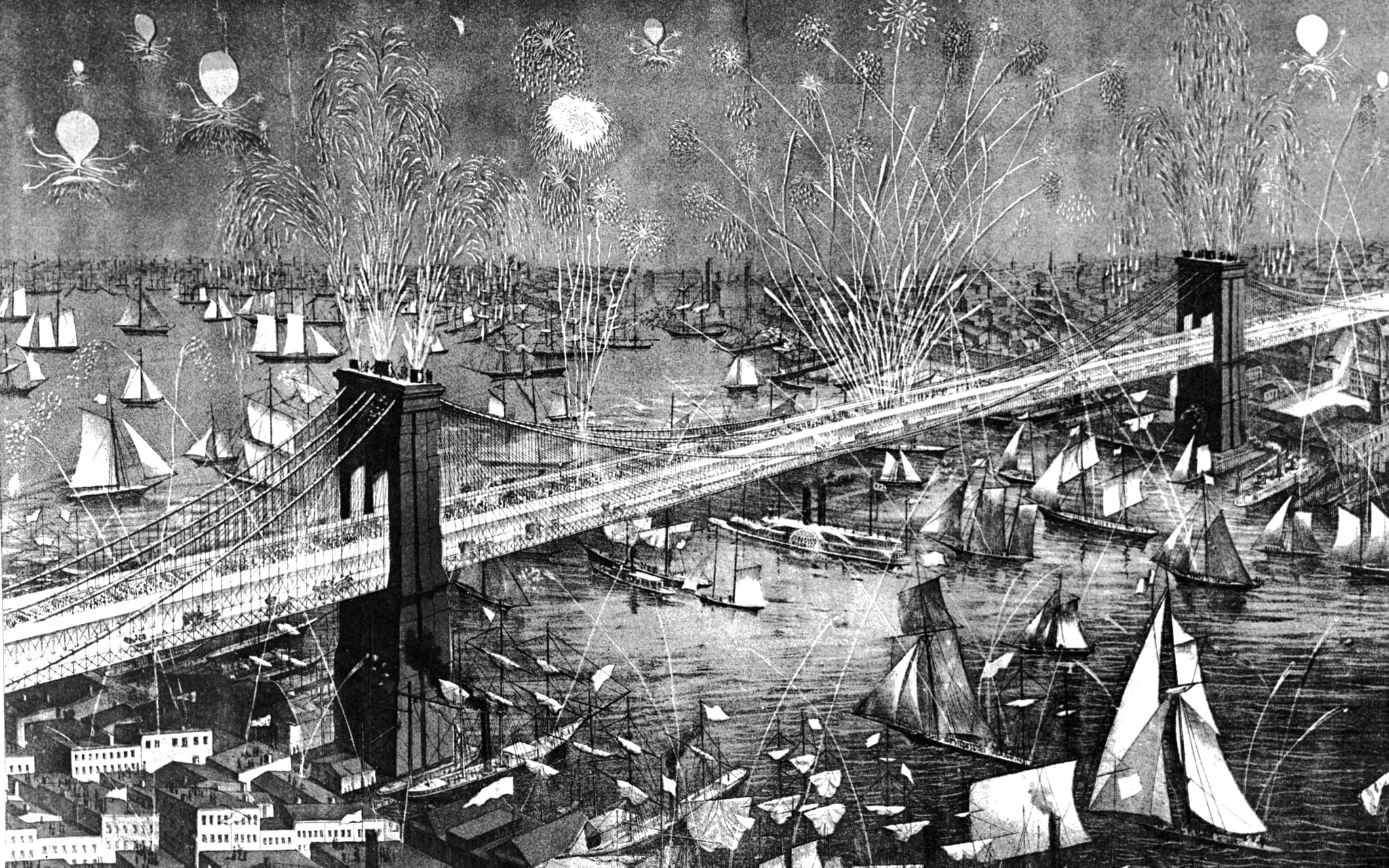 Celebrations for the grand opening of the bridge, May 24, 1883.