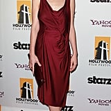 Carey Mulligan donned rich draped Giles dress with a coordinating clutch and navy peep-toe pumps at the 14th Annual Hollywood Awards Gala.