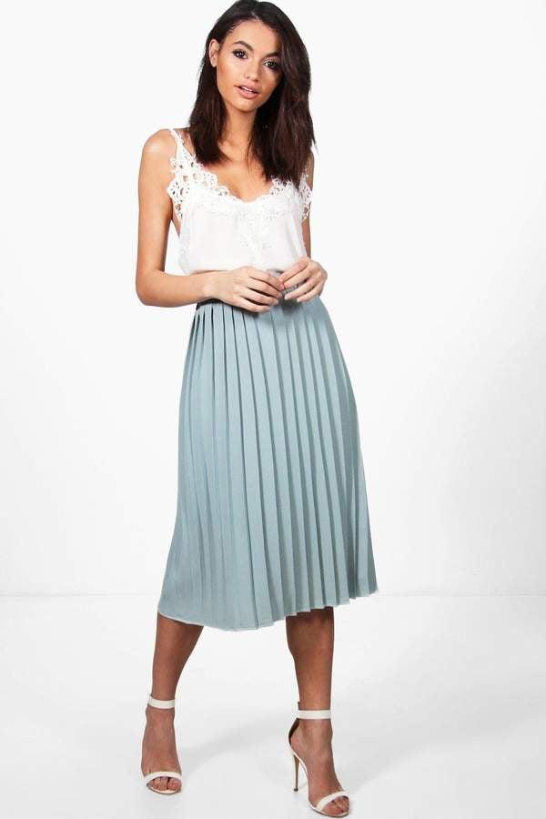 32a698fe461 boohoo Neave Crepe Pleated Midi Skirt