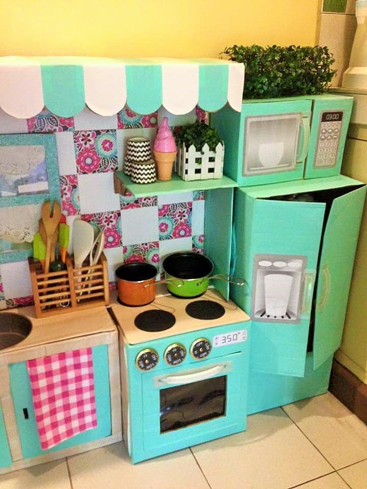 diy cardboard play kitchen for kids - Diy Kids Kitchen