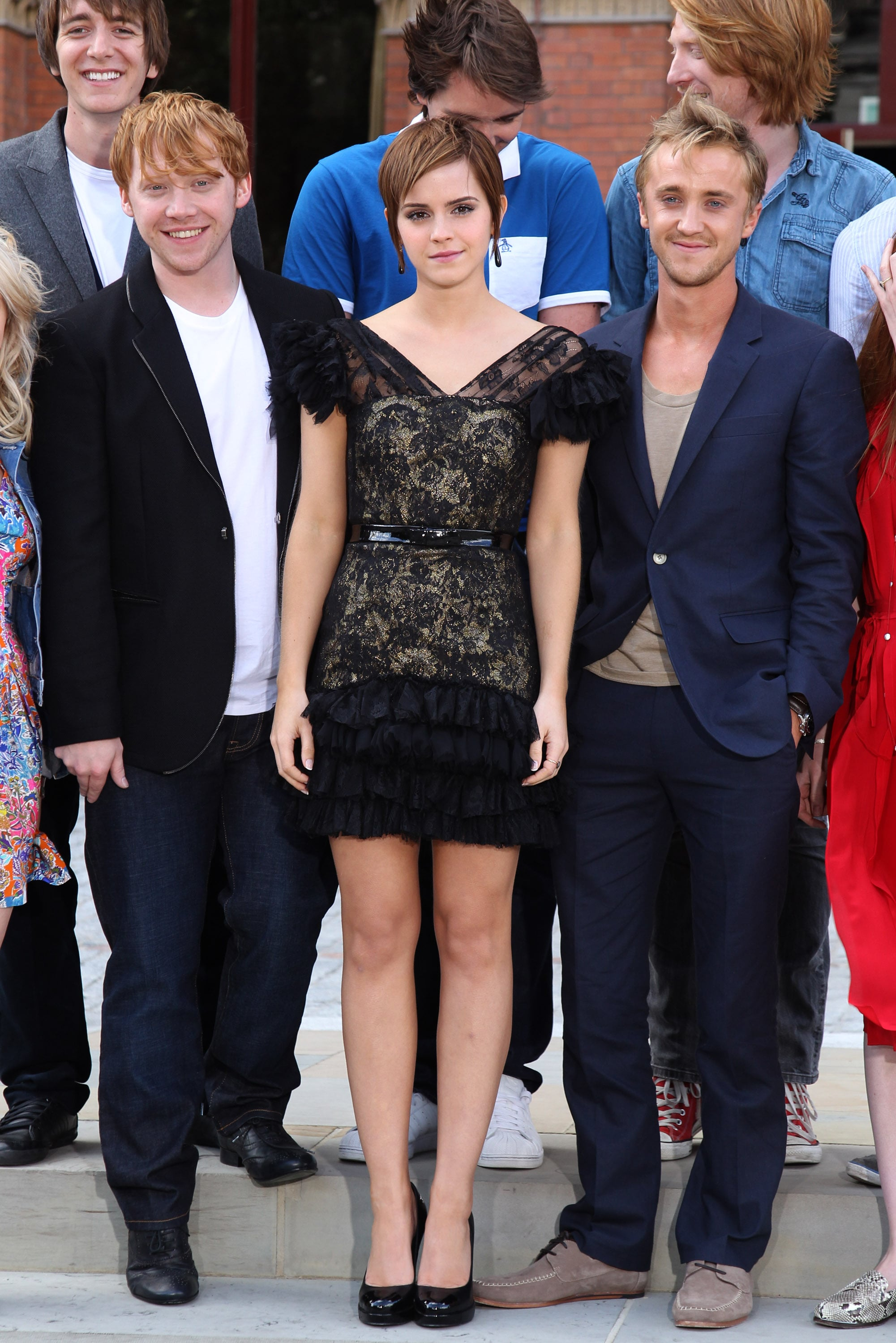 Rupert, Emma, and Tom teamed up for one of their final photocalls.