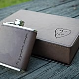 Engraved Leather Flask