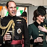 Kate and William couldn't contain their laughter as they drank pints of Guinness after watching their annual St. Patrick's Day parade at Cavalry Barracks in Hounslow.