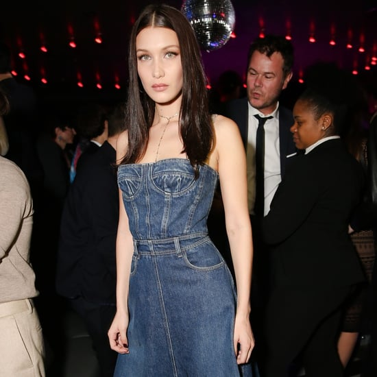 Bella Hadid Wearing a Denim Dior Dress