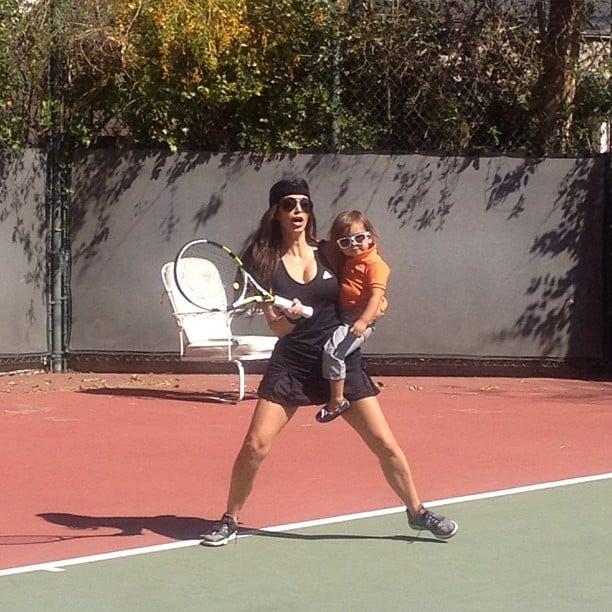Kim Kardashian and Mason Disick took to the court together. Source: Instagram user kimkardashian