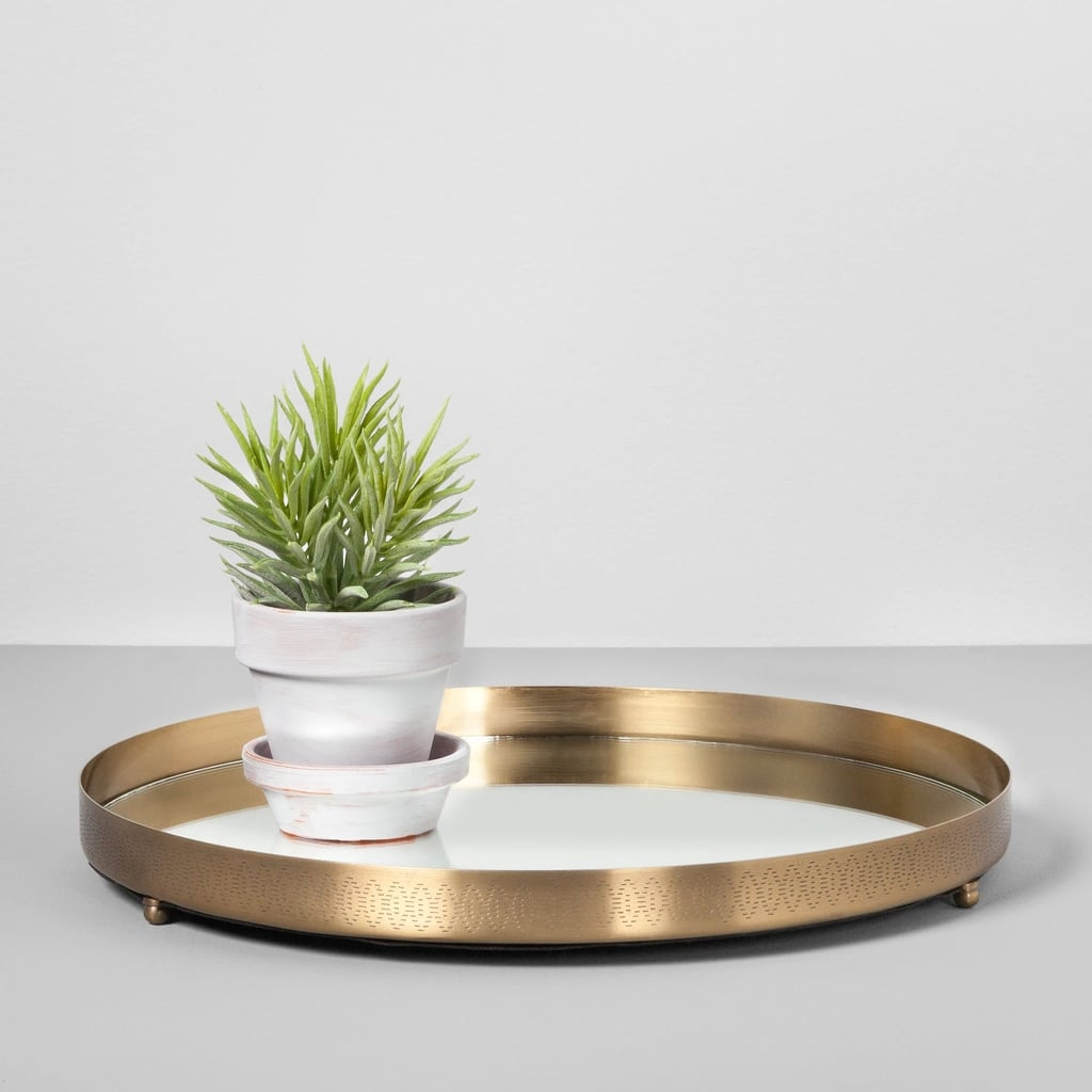 Round Mirrored Brass Tray Target Home Decor Gifts