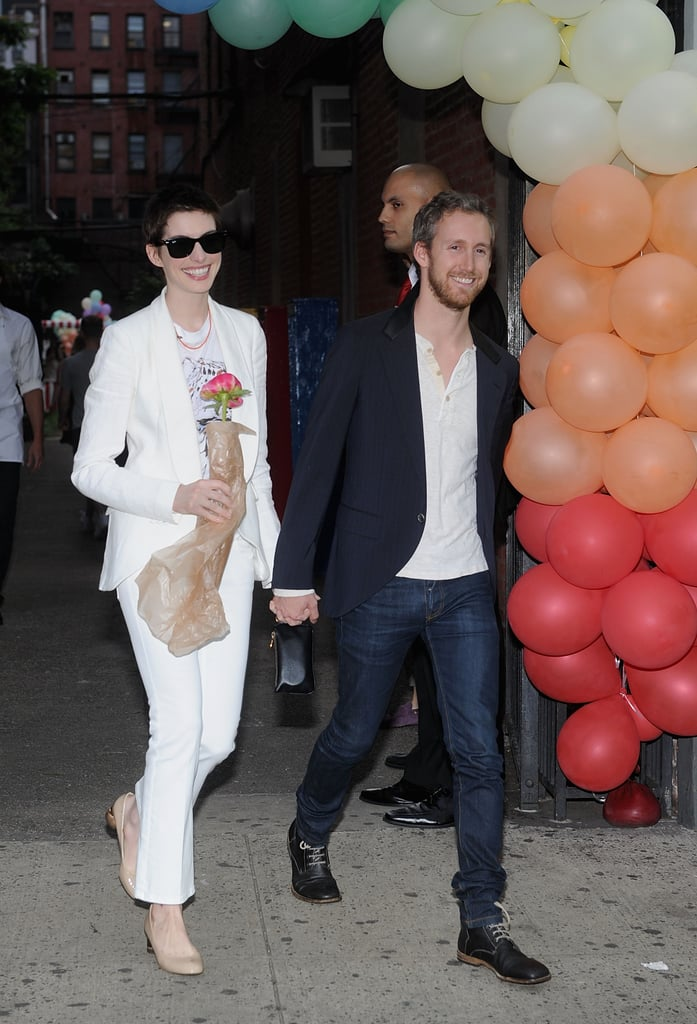 Anne Hathaway and Adam Shulman arrived at the Stella McCartney presentation in NYC.