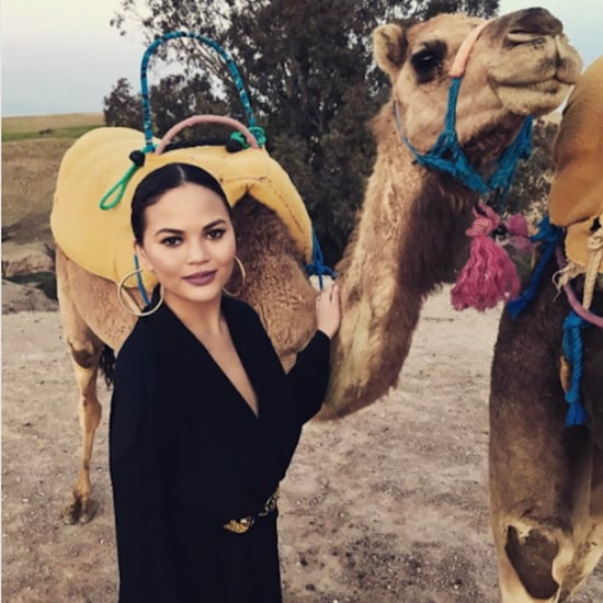 Chrissy Teigen in Black Jumpsuit in Morocco March 2017