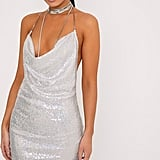 Pretty Little Thing Tarria Silver Sequin Chain Choker Mini Dress