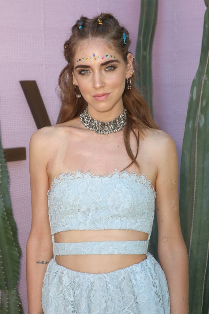 We're loving how Chiara Ferragni swapped her usual black choker for this embellished variation, which she paired with a subdued floral dress.