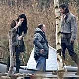 Kristen Stewart and Chris Hemsworth in costume on the set of Snow White and the Huntsman.