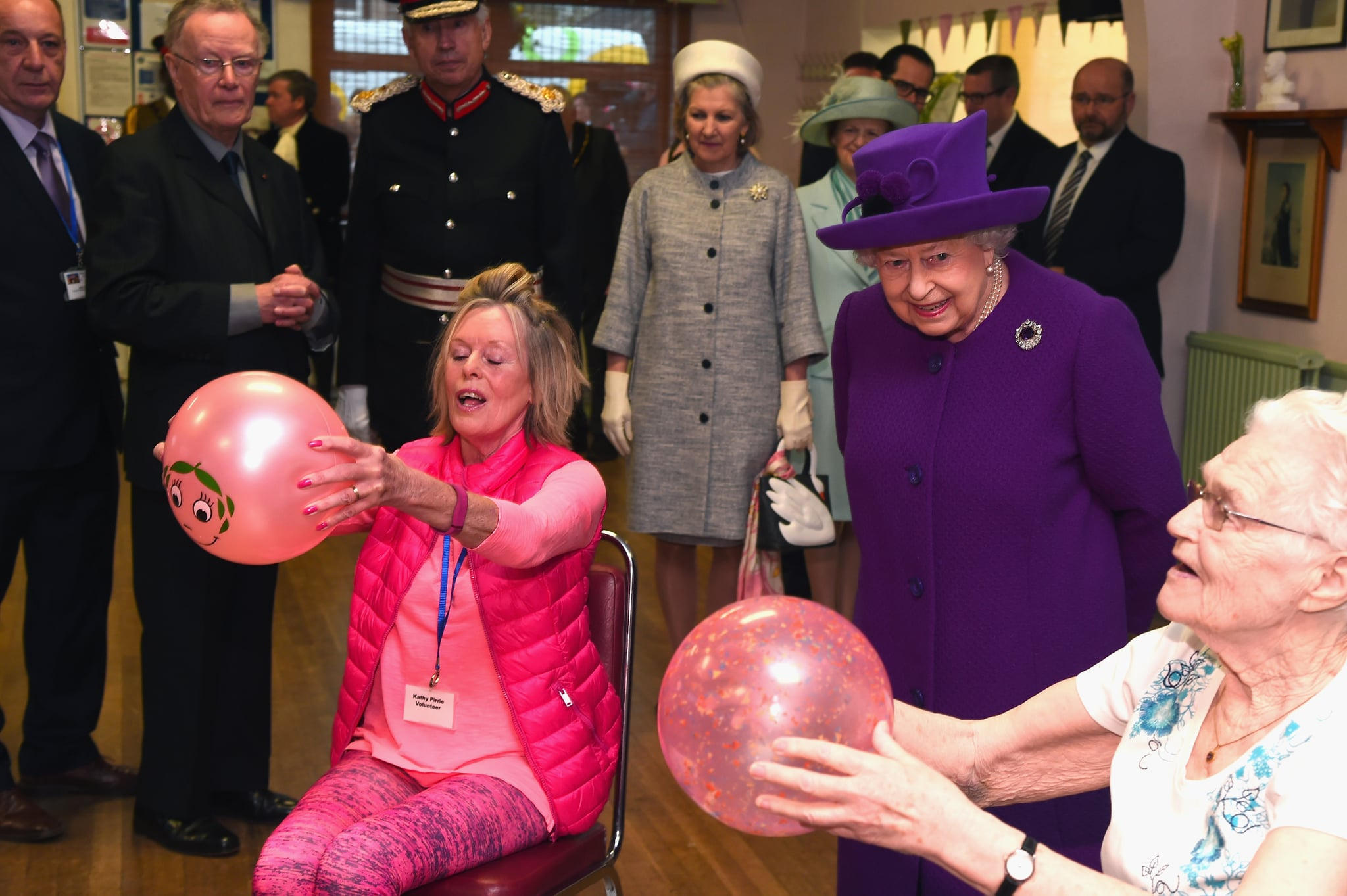 WINDSOR, ENGLAND - APRIL 12:  Queen Elizabeth II visits the King George VI Day Centre on April 12, 2018 in Windsor, England. The Queen toured the facility and met some of the local residents who use it.  (Photo by Eamonn M. McCormack - WPA Pool/Getty Images)