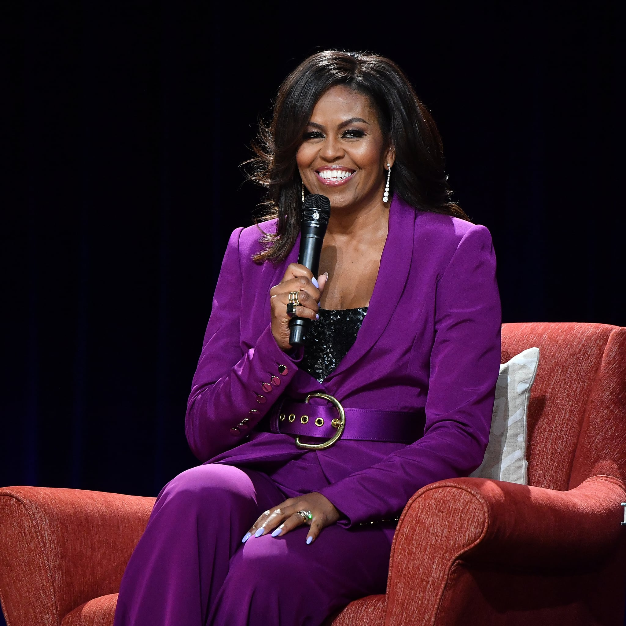 2cb8a9e3 Michelle Obama's Purple Suit 2019 | POPSUGAR Fashion