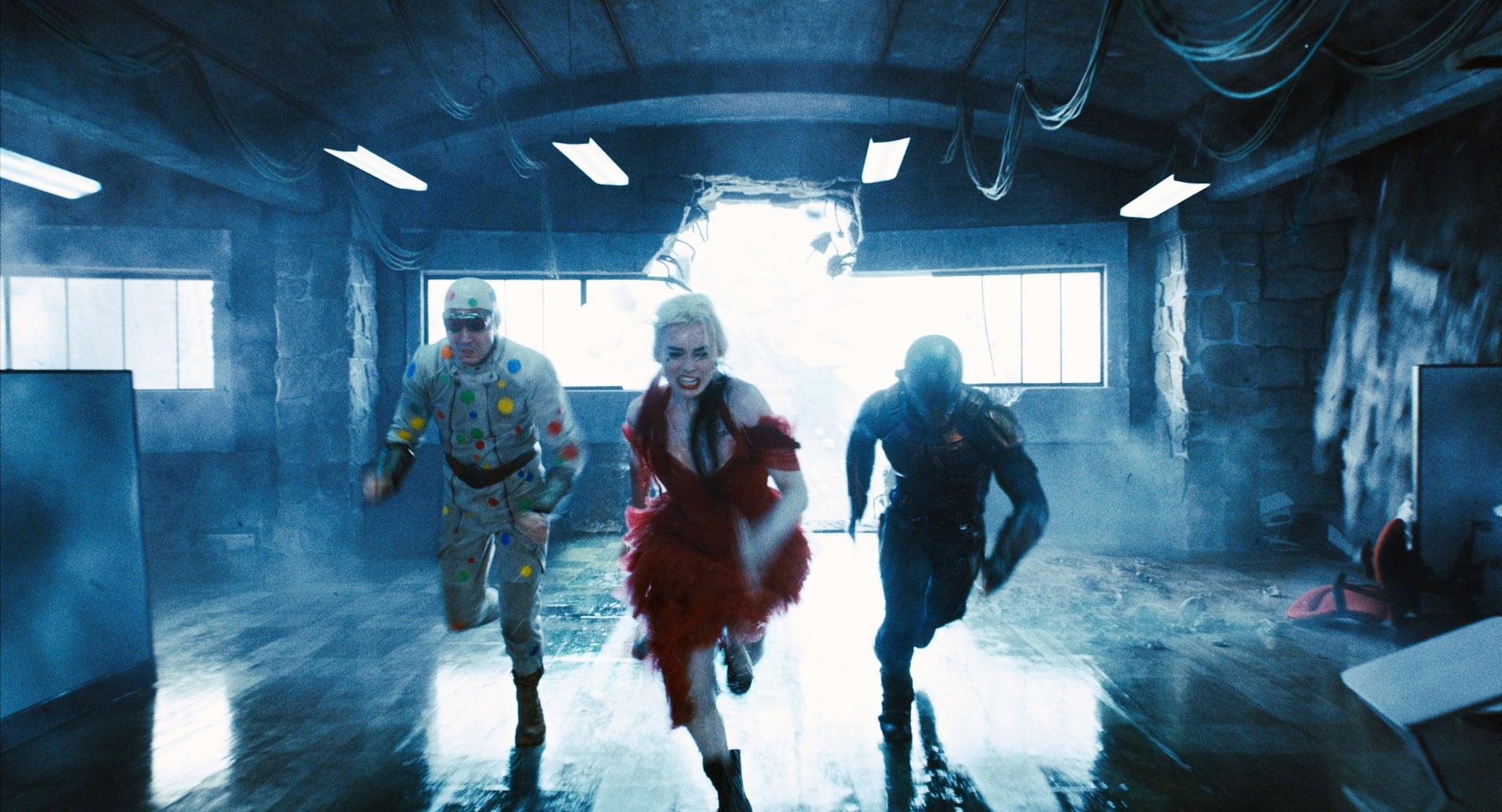 THE SUICIDE SQUAD, from left: David Dastmalchian as Polka-Dot Man, Margot Robbie as Harley Quinn, Idris Elba as Bloodsport, 2021.  Warner Bros. /Courtesy Everett Collection