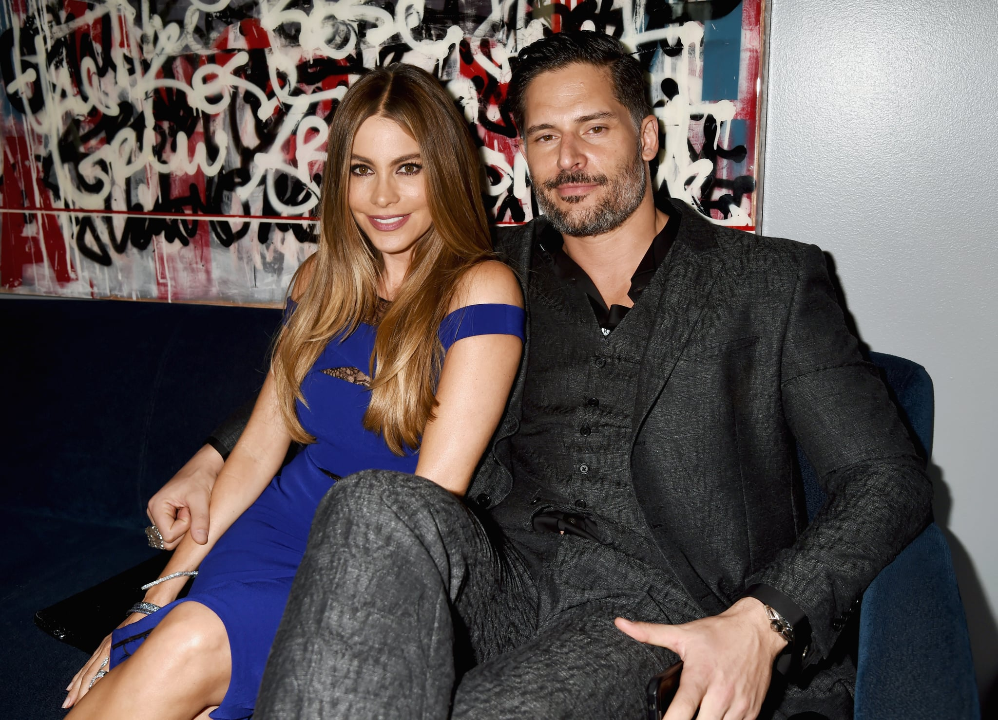 LOS ANGELES, CA - APRIL 12:  Actors Sofia Vergara (L) and Joe Manganiello attend The 2015 MTV Movie Awards at Nokia Theatre L.A. Live on April 12, 2015 in Los Angeles, California.  (Photo by Jeff Kravitz/MTV1415/FilmMagic)
