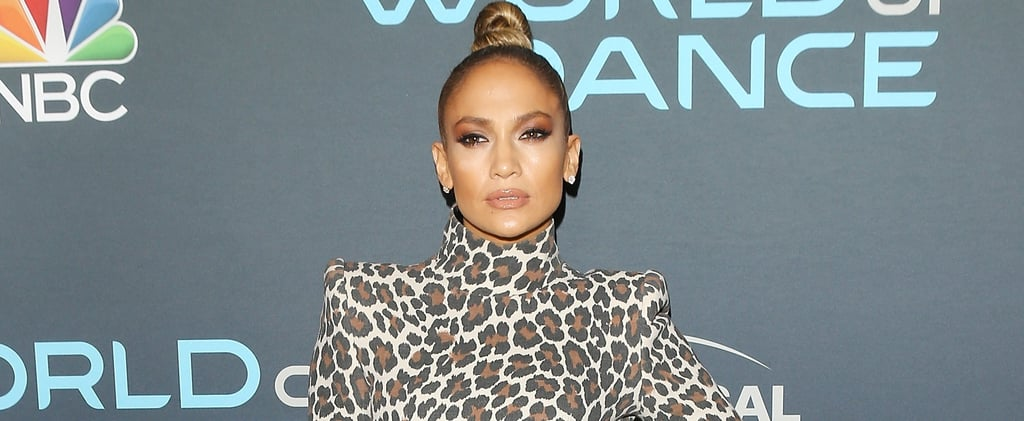 Jennifer Lopez Leopard Sergio Hudson Dress and Mesh Heels