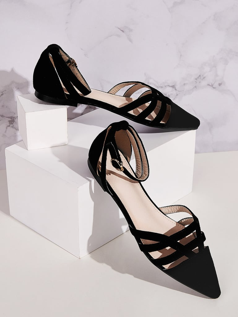 Shein Point Toe Ankle Strap Flats
