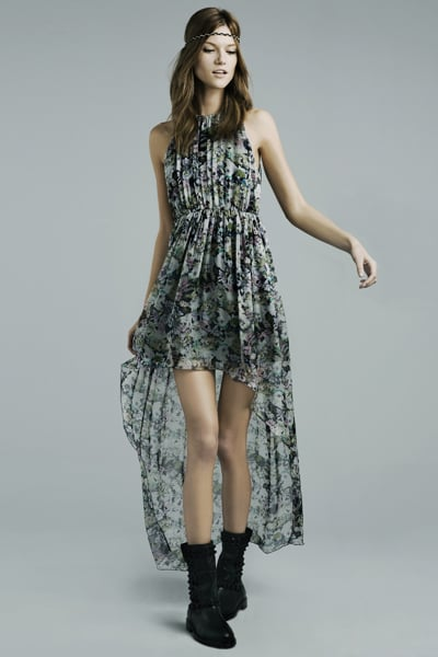 Printed Dress With Asymmetrical Hem ($100)