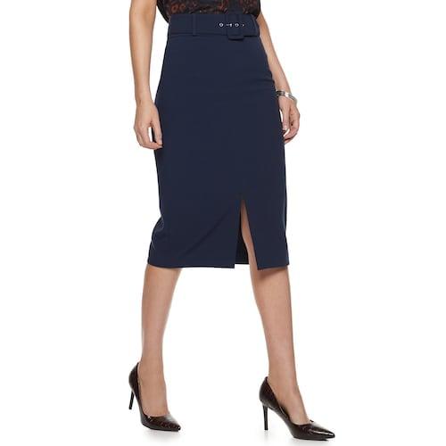 Nine West Belted Pencil Skirt