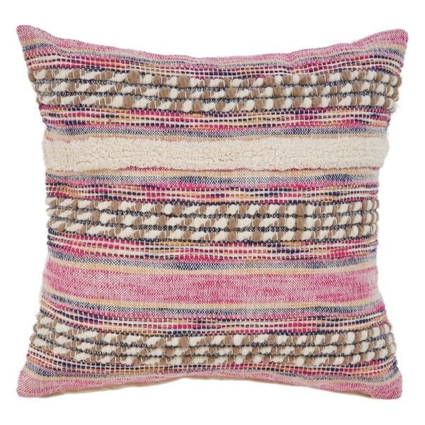 LR Resources Eclectic Pink Striped Hypoallergenic Polyester Throw Pillow