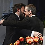 Matt Damon and Ben Affleck hugged.