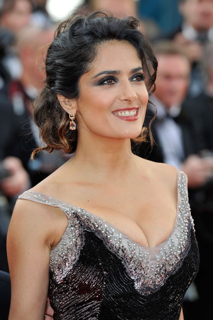 Salma didn't shy away from the cleavage-baring look in this formfitting Gucci Premiere gown.