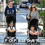 Sarah Jessica Parker took her twins for a walk around the West Village.