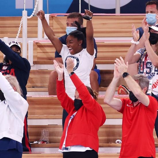 Simone Biles Cheers For MyKayla Skinner at Olympics | Photos