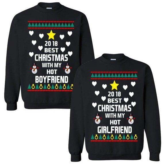 e76f5cf723f4 Best Christmas With My Hot Boyfriend Girlfriend Sweaters