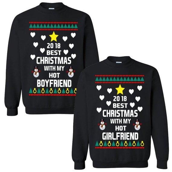 Best Christmas With My Hot Boyfriendgirlfriend Sweaters Ugly