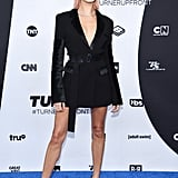 Hailey gave the tuxedo dress a spin with this edgy David Koma number at the Turner Upfront event in May. She cinched her waist with a Jimmy Choo belt and slipped into Casadei pumps, finishing the ensemble with XIV Karats jewellery.