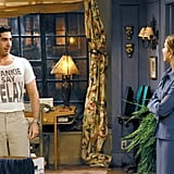"""How amazing is this too-small-for-comfort """"Frankie Say Relax"""" tee that Ross wears to prove a point to Rachel?"""