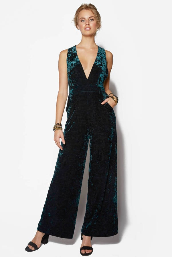 good velvet jumpsuit outfit