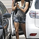 Halle Berry wearing shorts.