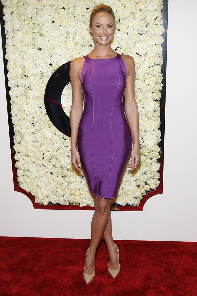 Stacy Keibler paired a fitted purple dress with nude pumps at QVC\'s ...