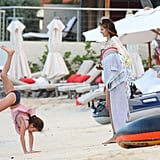 Stephanie Seymour watched as her daughter, Lily Brant, did cartwheels.