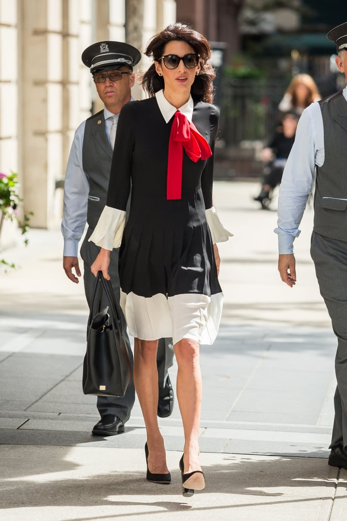 Amal Wore a Gucci Dress With a Red Bow